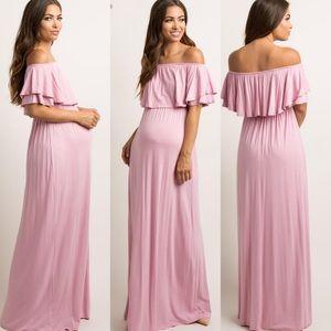 Pinkblush Ruffle Off Shoulder Maternity Maxi Dress